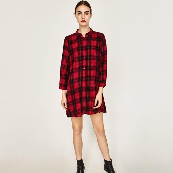 95da56c8932a Zara premium collection • M• NWOT red check dress.  M 5c3de8ddaaa5b82876af3423